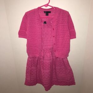 GAP Dresses - Pink Lace Dress with Sweater
